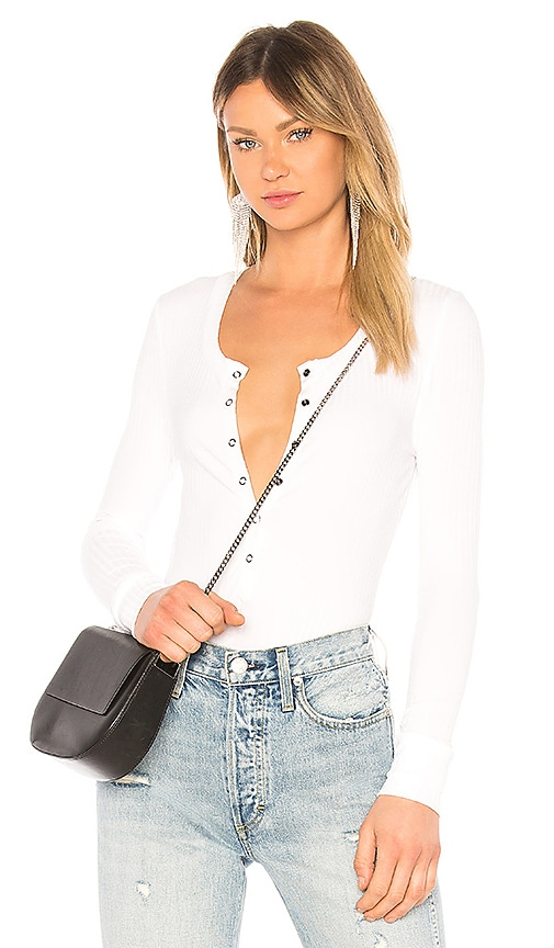 David Lerner Long Sleeve Snap Front Henley Top in White
