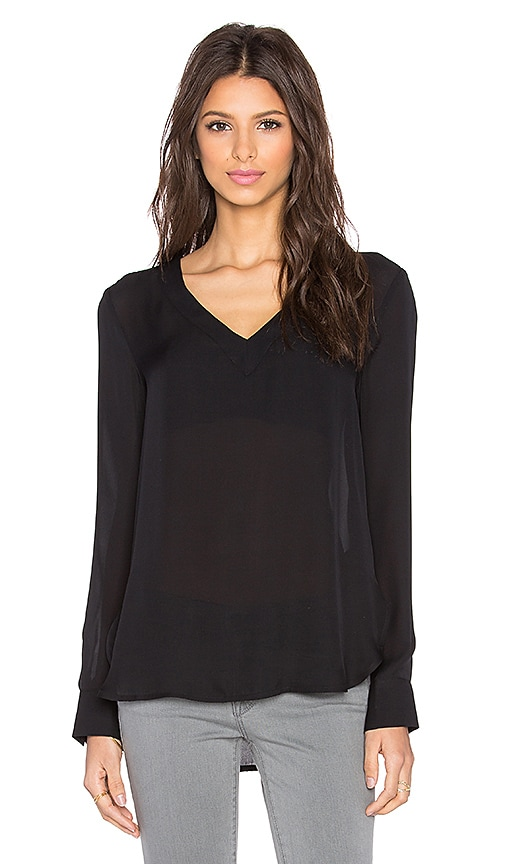 David Lerner Mitered V-Neck Tunic in Black