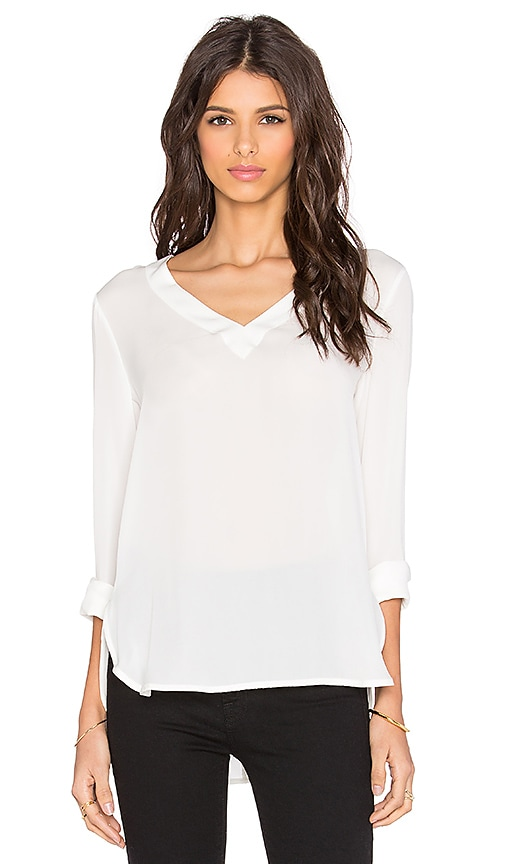 David Lerner Mitered V-Neck Tunic in White