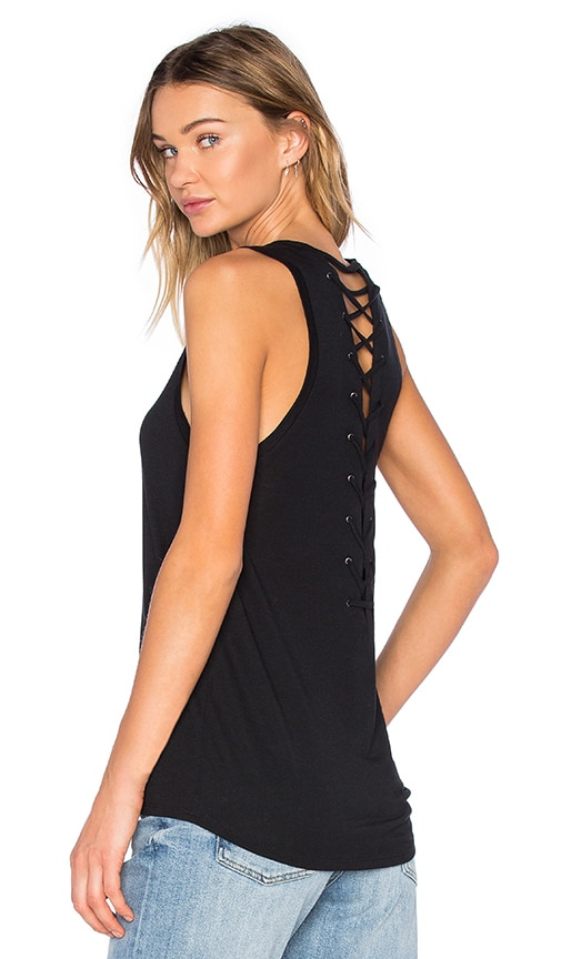 David Lerner Lace Up Back Muscle Tank in Classic Black