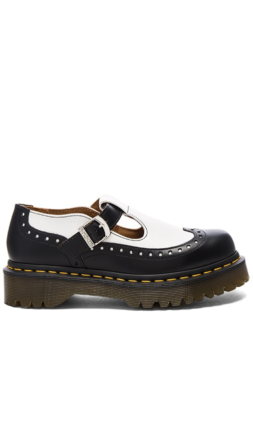 Dr. Martens Demize Brogue T Bar Loafer in Black & White
