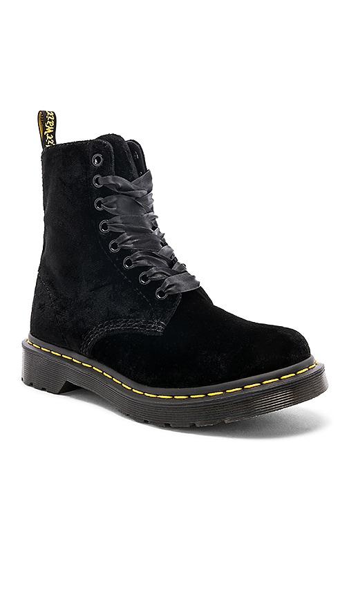 dr martens black 1461 pascal velvet flat shoes