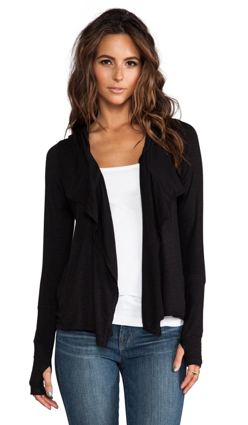 Hooded Draped Front Cardigan