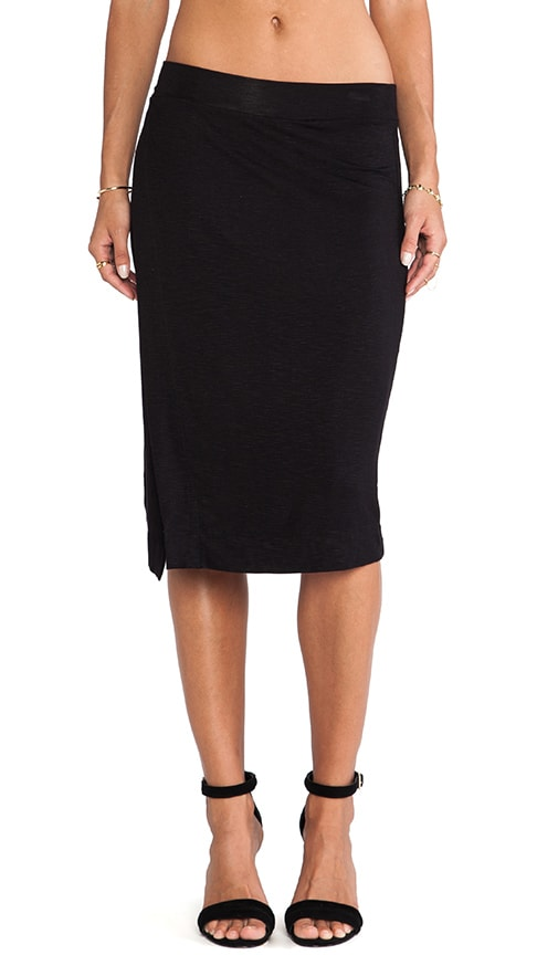 dolan side slit midi skirt in black revolve