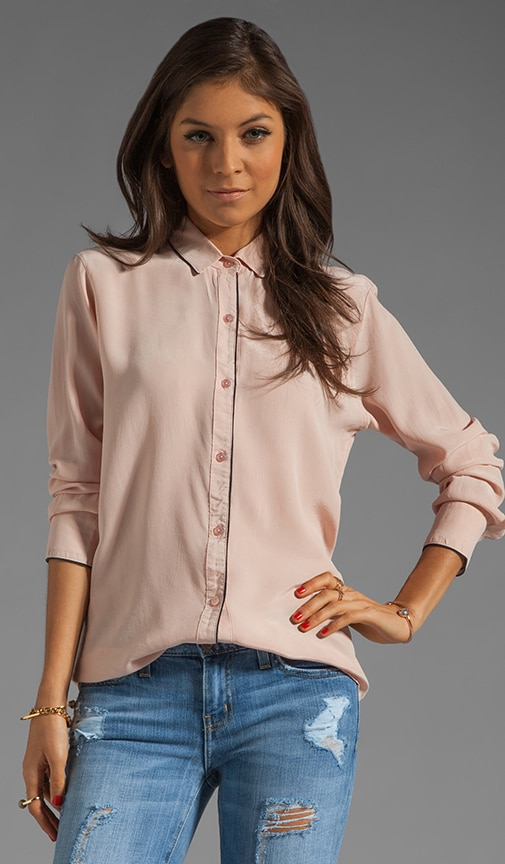Long Sleeve Button Down with Piping