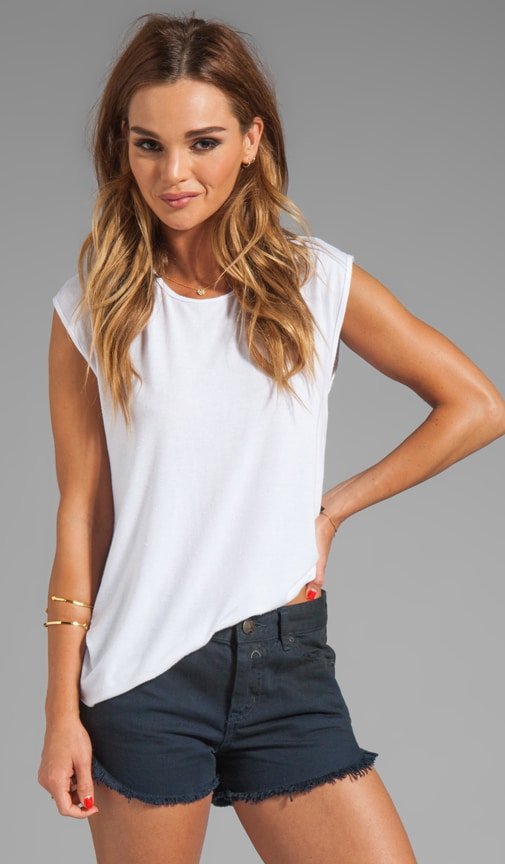 Silk Blend Asymmetrical Muscle Tee