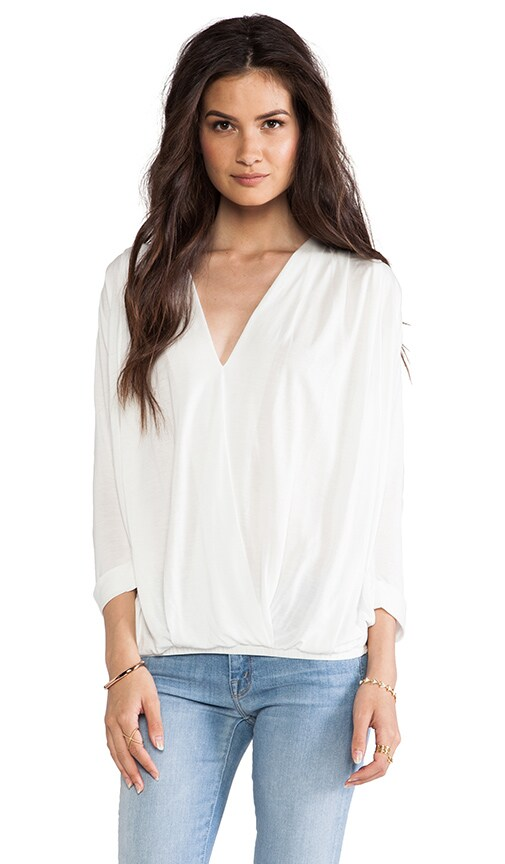 Rolled Sleeve Cross Front Blouse