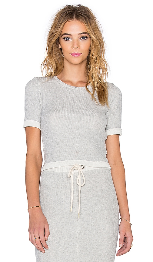 dolan 3/4 Sleeve Crop Top in Gris