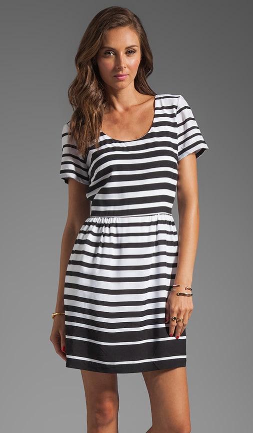 Dolce Vita Adelaide Ascending Stripe T-Shirt Dress in Black & White