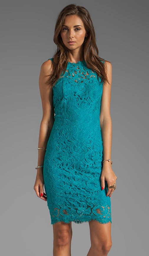 Tamia Teal Lace Tank Dress