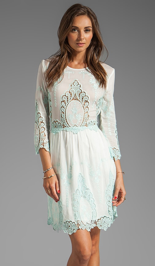 Valentina Petticoat Embroidery Long Sleeve Dress