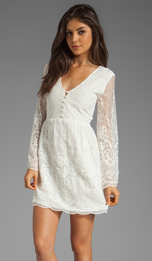 Jilisa Silk Embroidery Long Sleeve Mini Dress