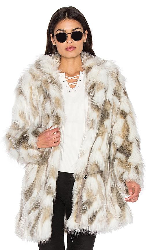 Dolce Vita Frances Faux Fur Coat in Cream