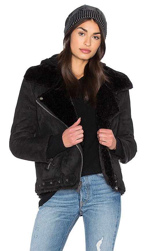 Dolce Vita Veronica Jacket With Faux Fur Lining in Black