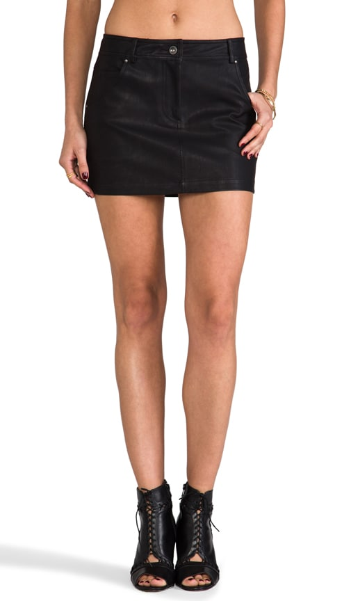 Groove Faux Leather Skirt
