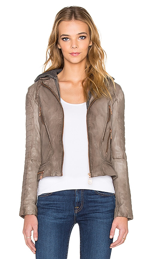 DOMA Hooded Moto Jacket in Truffle