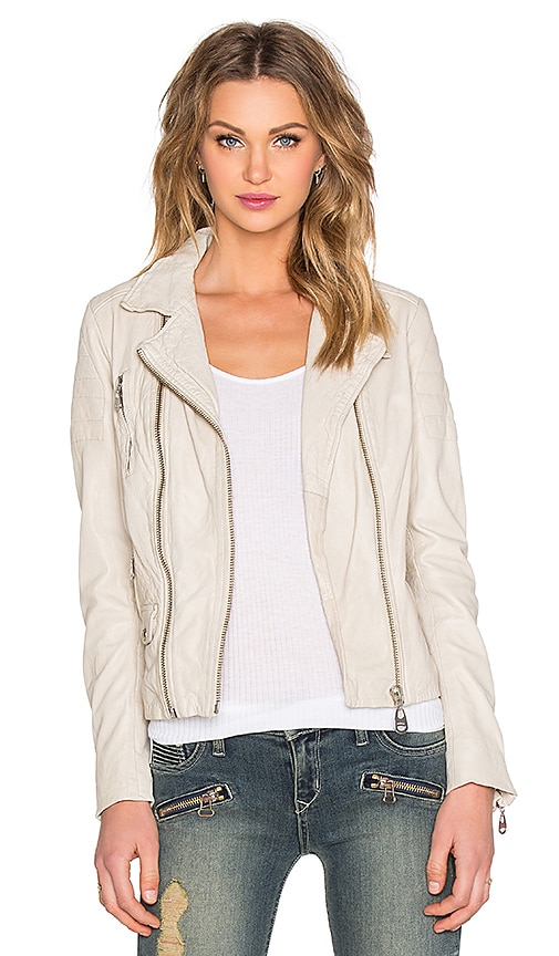 DOMA Double Zipper Biker Leather Jacket in Beige