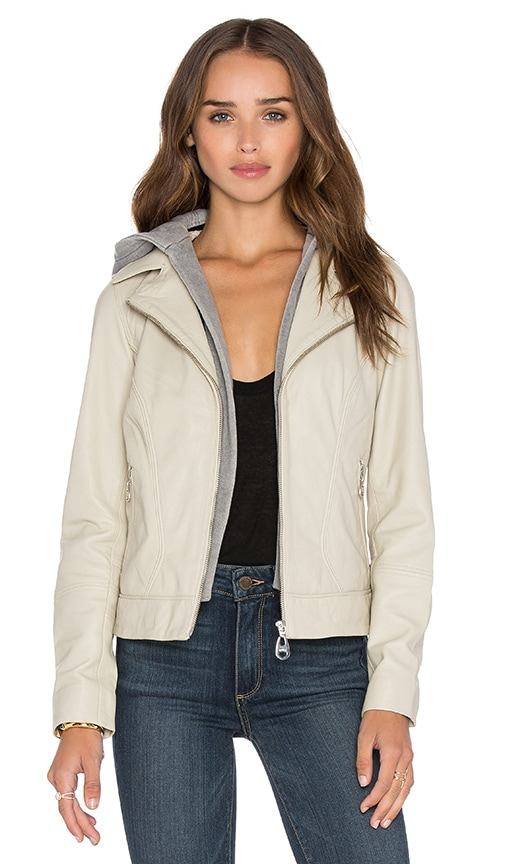 DOMA Hooded Leather Jacket in Beige