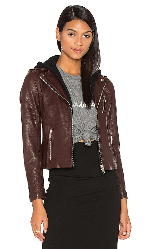 DOMA Detachable Hood Moto Jacket in Brown