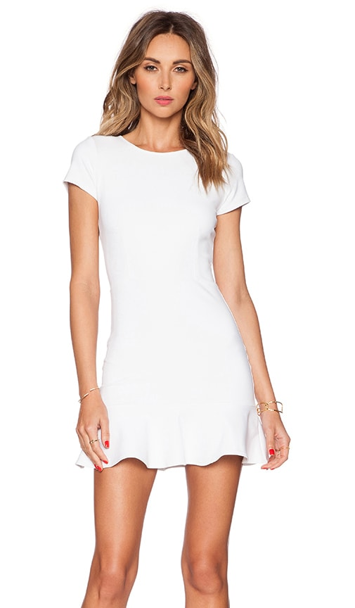 Donna Mizani Cap Sleeve Ruffled Mini Dress in White