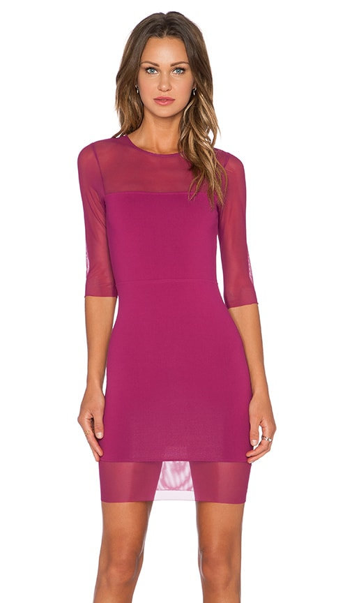 Donna Mizani Half Sleeve Mini Dress in Wine