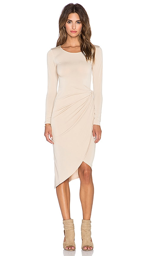 Donna Mizani Knot Front Midi Dress in Camel