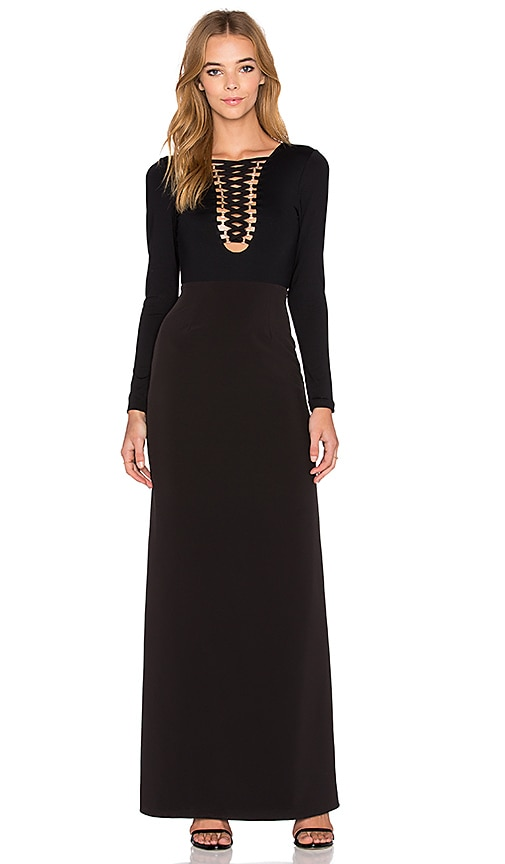 Donna Mizani Lace Up Maxi Dress in Black