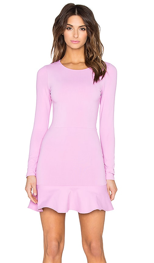 Donna Mizani Long Sleeve Ruffle Mini Dress in Lilac