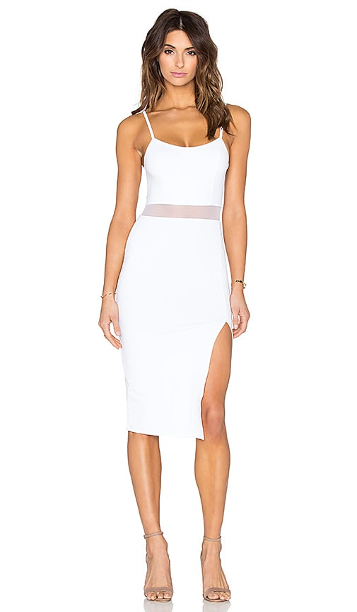 Donna Mizani Side Slit Midi Dress in White