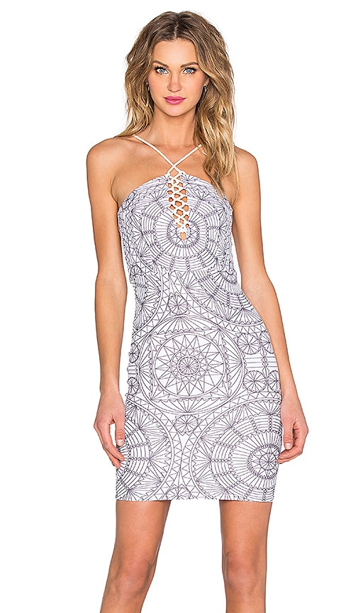 Medallion Halter Lace Up Mini Dress
