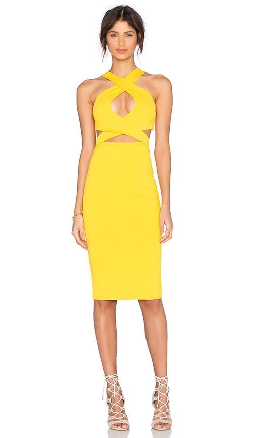 Donna Mizani Cross Front Midi Dress in Yellow