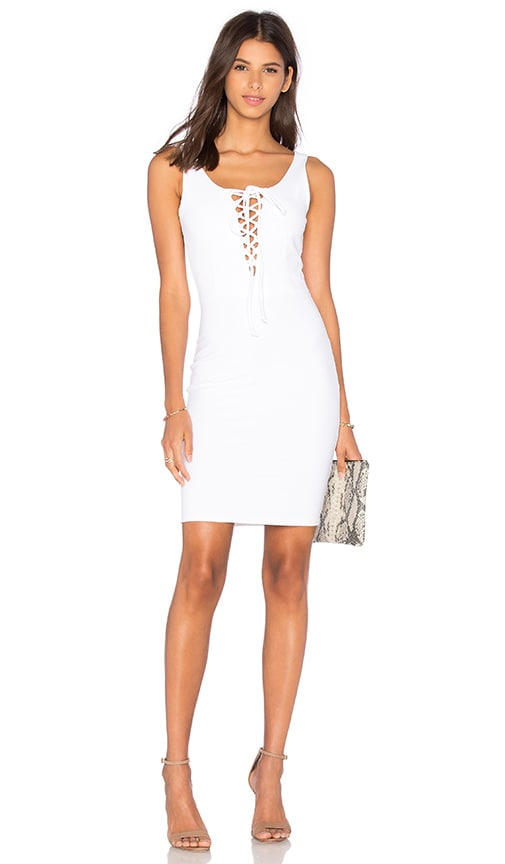 Donna Mizani Lace Up Mini Dress in White