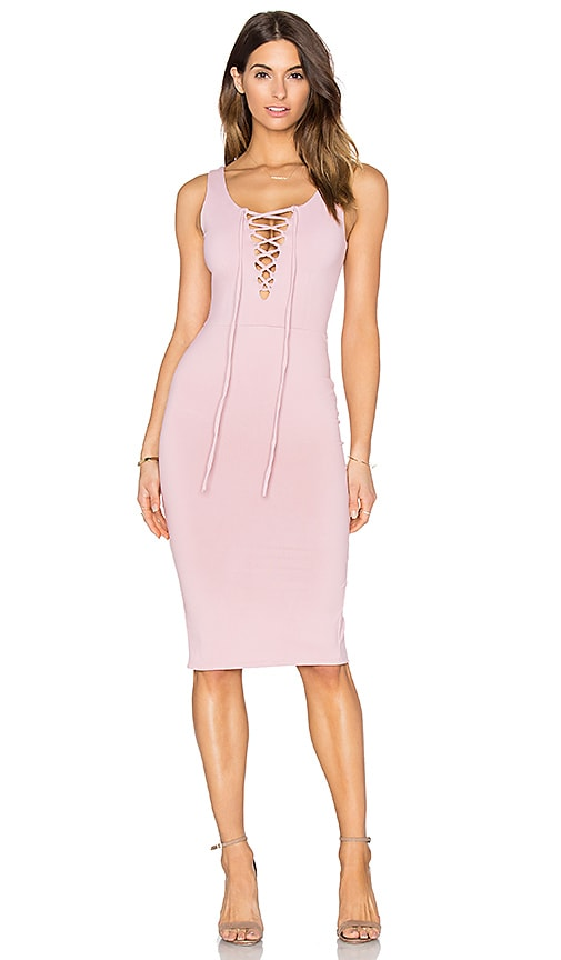 Donna Mizani Lace Up Midi Dress in Rose Quartz