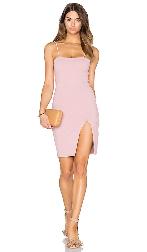 Donna Mizani Straight Neck Mini Dress in Rose Quartz