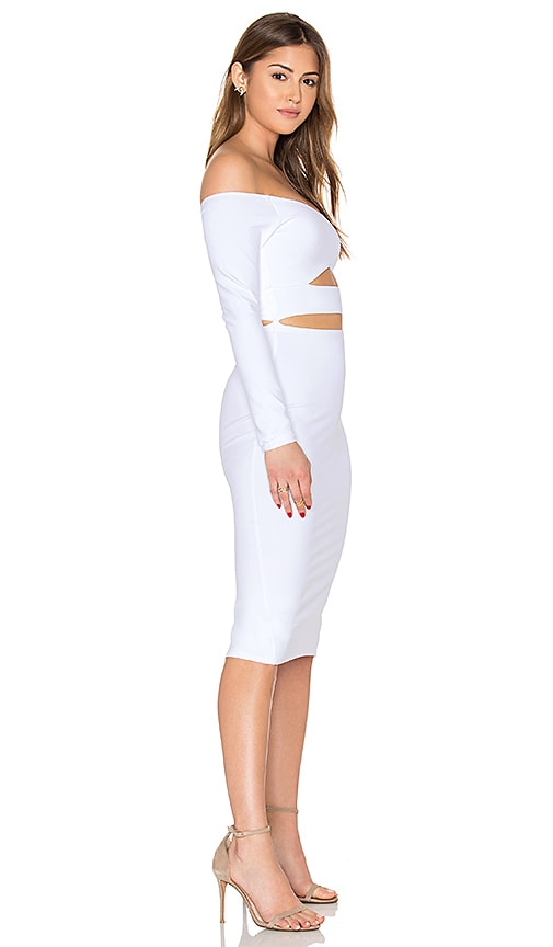 Outlet Donna Mizani Long Sleeve Marilyn Cut Out Midi Dress In White