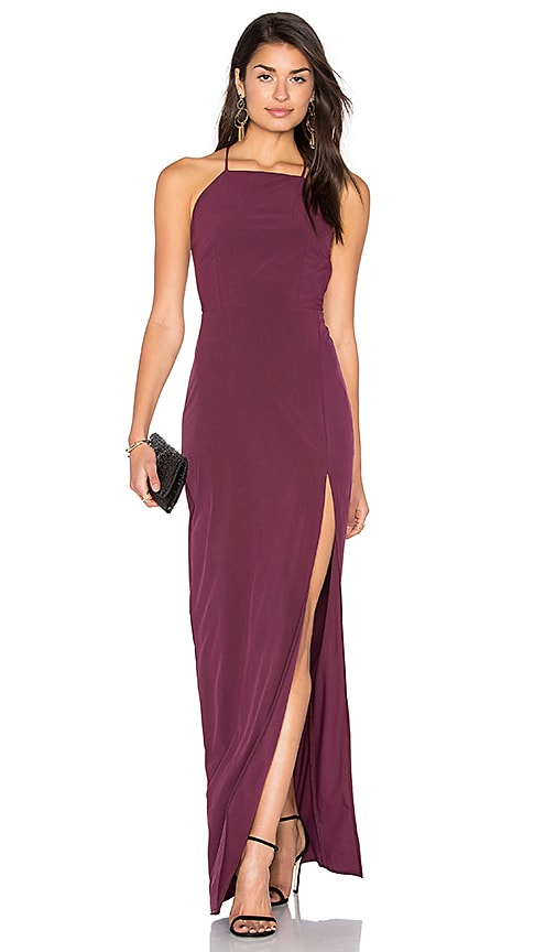 06691dc001 Donna Mizani Square Neck Maxi Dress in Aubergine