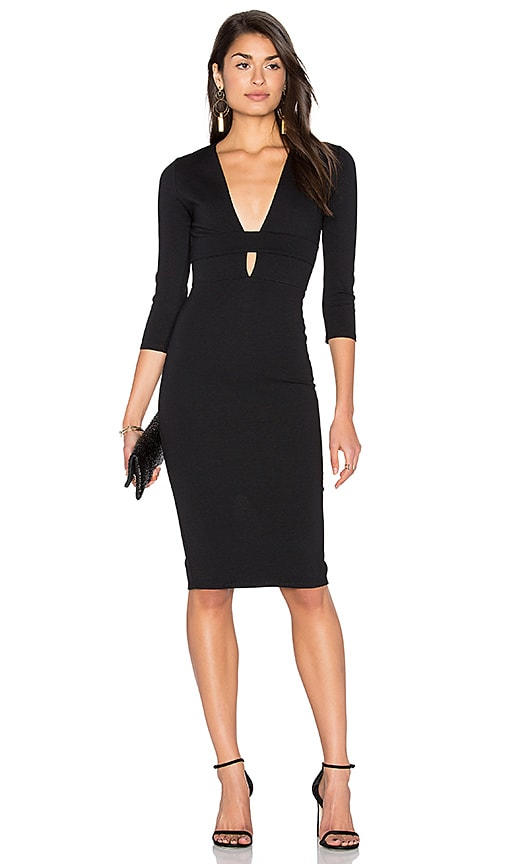 Donna Mizani Banded Deep V Midi Dress in Black