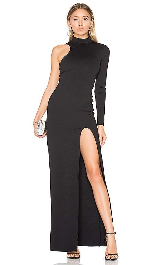 Donna Mizani One Sleeve Mock Neck Maxi Dress in Black
