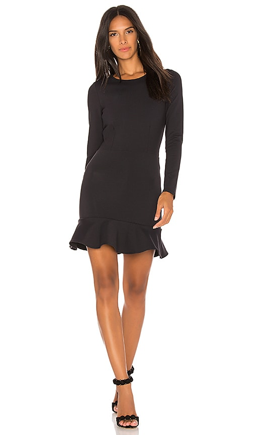 Donna Mizani Long Sleeve Ruffle Dress in Black