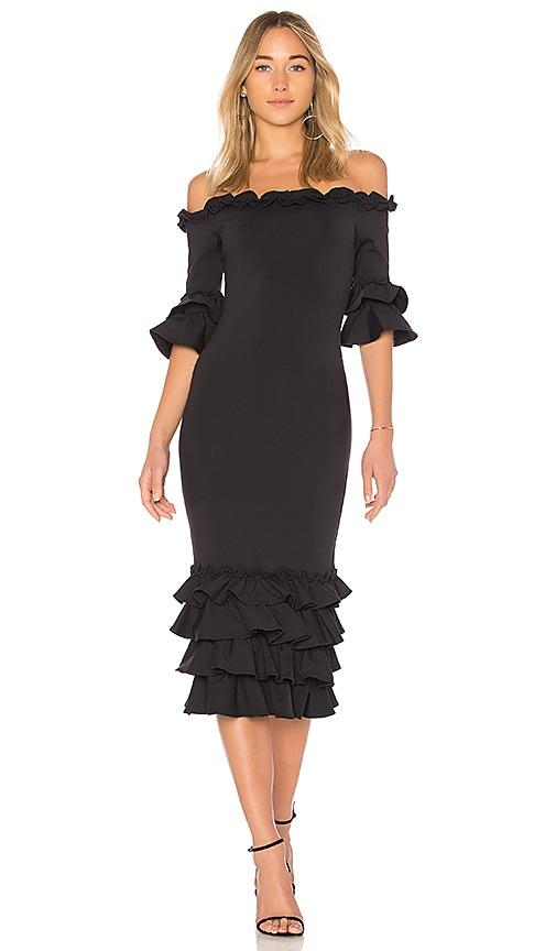 Donna Mizani Pishi Midi Dress in Black