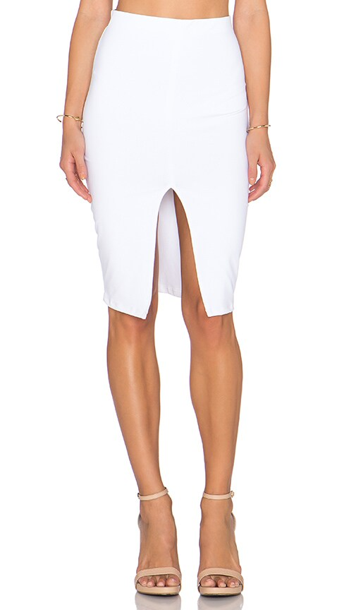 Donna Mizani Front Slit Midi Skirt in White