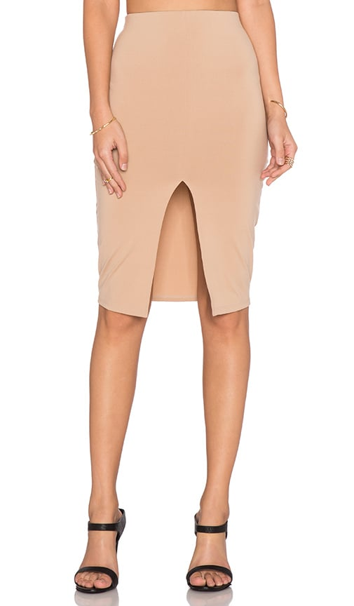 Donna Mizani Front Slit Midi Skirt in Beige