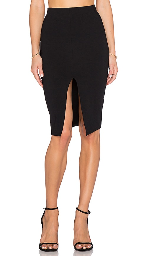 Donna Mizani Front Slit Midi Skirt in Black