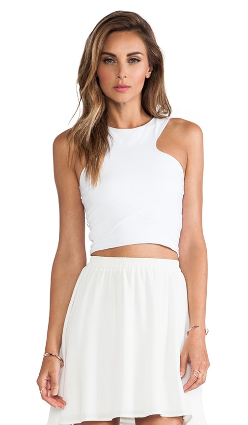 Donna Mizani Racer Front Crop Top in White