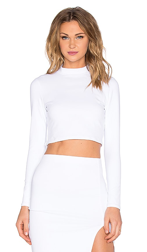 Donna Mizani Mock Neck Long Sleeve Crop Top in White
