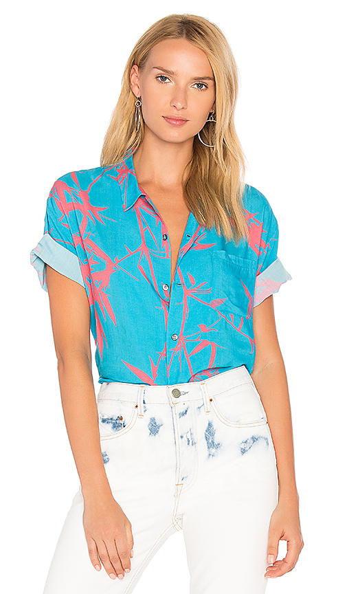 DOUBLE RAINBOUU Flame Trees Shirt in Blue