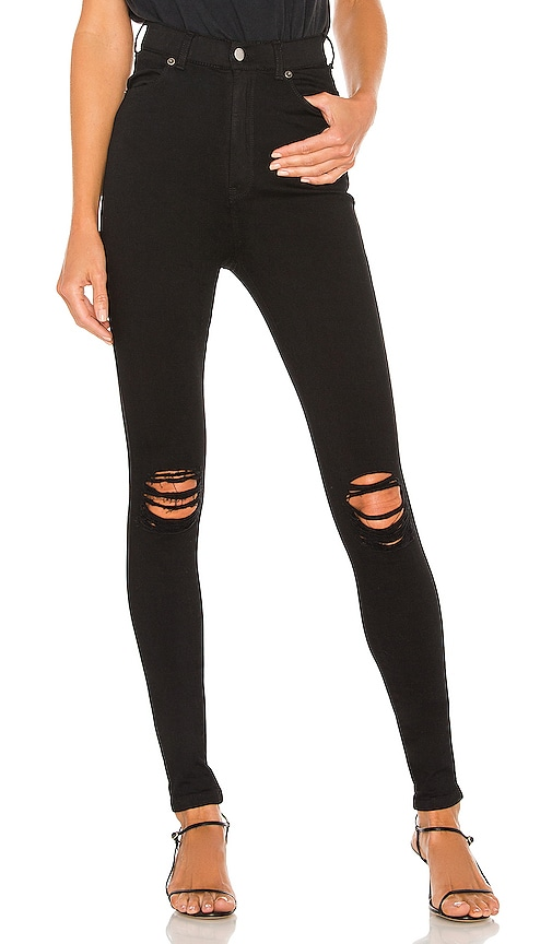 Dr. Denim Moxy Jean in Black Ripped Knees