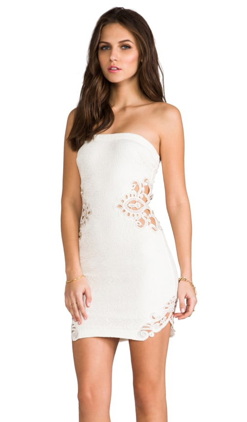 Caitlyn Strapless Crochet Dress with Crochet Inserts