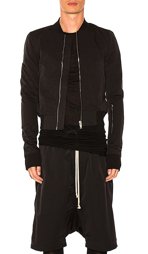 DRKSHDW by Rick Owens Glitter Flight Bomber Jacket in Black