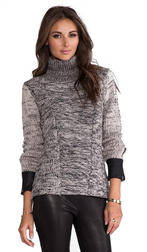 Leather Trim Oversized Turtleneck Sweater